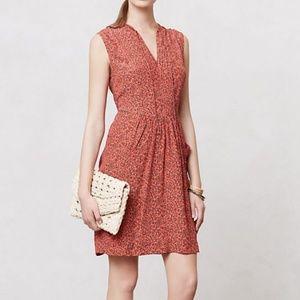 Anthropologie orange boho floral summer dress
